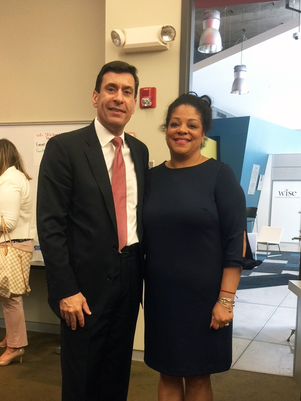Chris Fisher with Assemblymember Pamela Hunter at 5G event in Syracuse